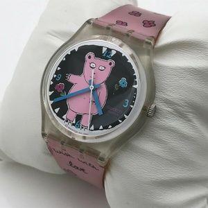 """SWATCH Women Watch """"Piggy the Bear"""" Swiss Watch"""